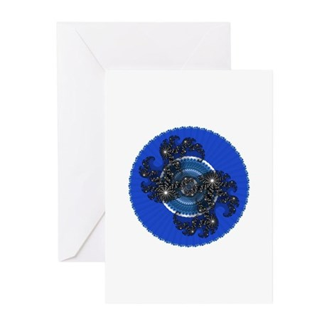 Fractal Kaleidoscope Blue Greeting Cards (Pk of 10