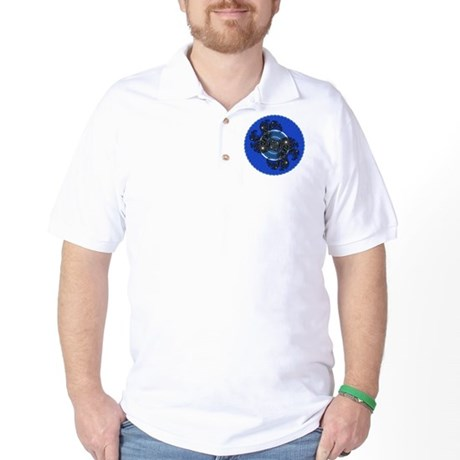 Fractal Kaleidoscope Blue Golf Shirt