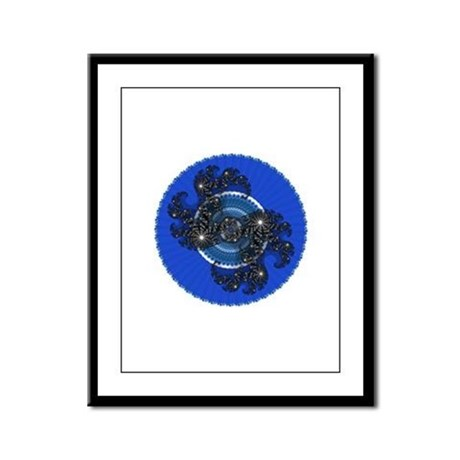 Fractal Kaleidoscope Blue Framed Panel Print