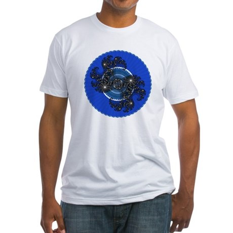 Fractal Kaleidoscope Blue Fitted T-Shirt