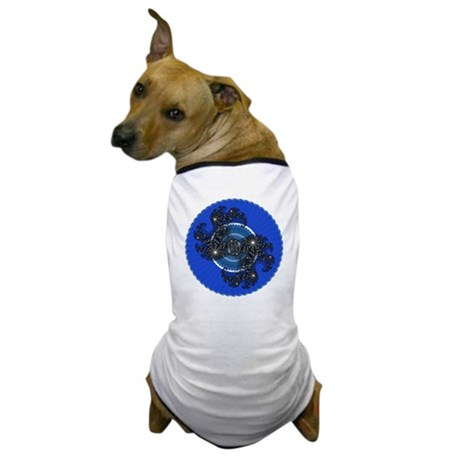 Fractal Kaleidoscope Blue Dog T-Shirt