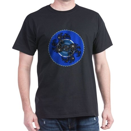 Fractal Kaleidoscope Blue Dark T-Shirt