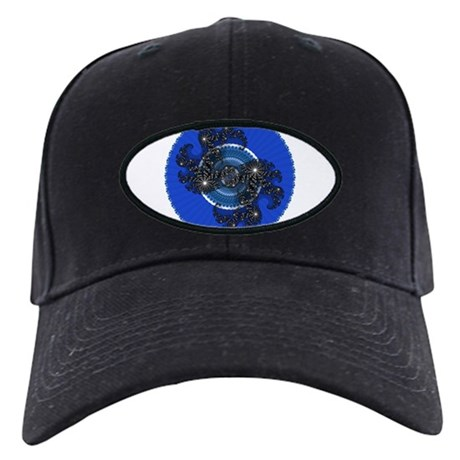 Fractal Kaleidoscope Blue Black Cap