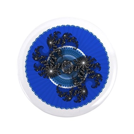 "Fractal Kaleidoscope Blue 3.5"" Button"