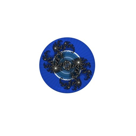 Fractal Kaleidoscope Blue Mini Button