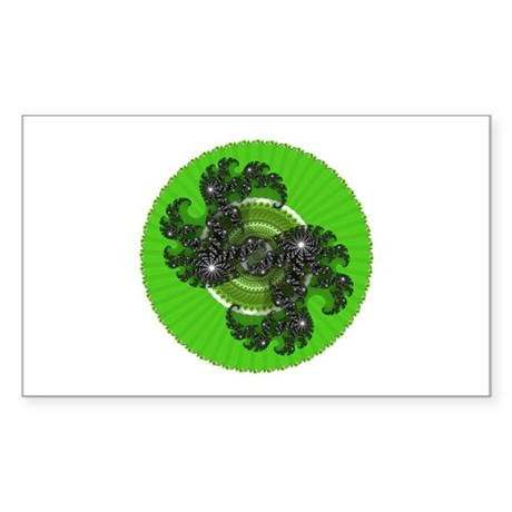 Fractal Kaleidoscope Green Rectangle Sticker