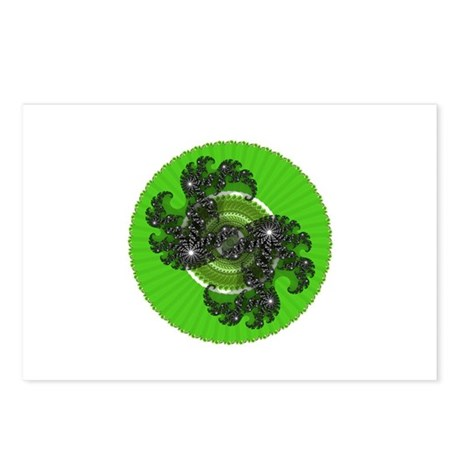 Fractal Kaleidoscope Green Postcards (Package of 8