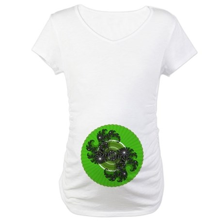 Fractal Kaleidoscope Green Maternity T-Shirt
