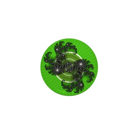Fractal Kaleidoscope Green Mini Button (100 pack)
