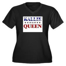 KALLIE for queen Women's Plus Size V-Neck Dark T-S