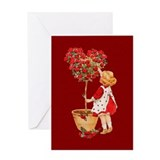 Heart Rose Bush Valentine Greeting Card