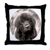 sepia newf Throw Pillow