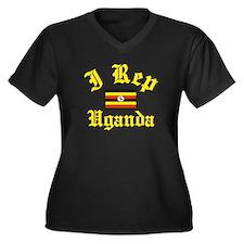 I rep Uganda Women's Plus Size V-Neck Dark T-Shirt