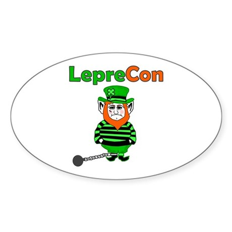 Funny Leprechaun Convict Oval Sticker