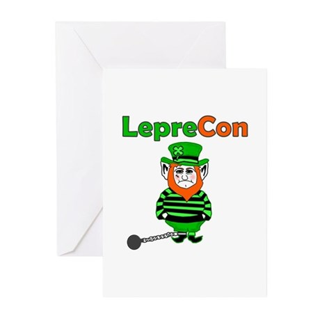Funny Leprechaun Convict Greeting Cards (Pk of 10)