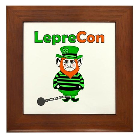 Funny Leprechaun Convict Framed Tile
