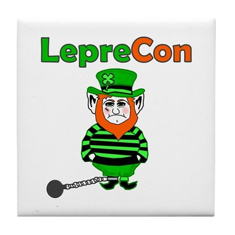 Funny Leprechaun Convict Tile Coaster