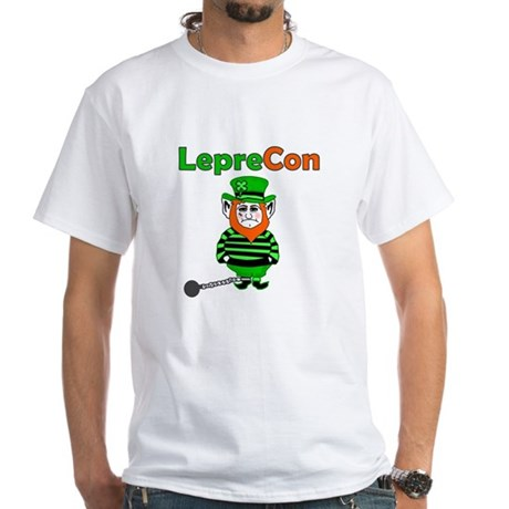 Funny Leprechaun Convict White T-Shirt