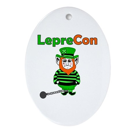 Funny Leprechaun Convict Oval Ornament