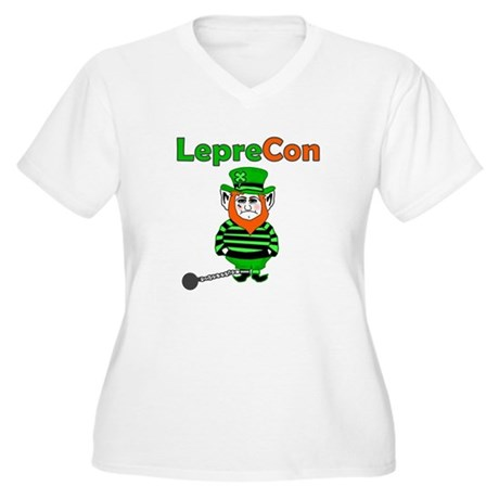 Funny Leprechaun Convict Women's Plus Size V-Neck