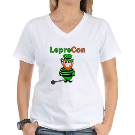 Funny Leprechaun Convict Women's V-Neck T-Shirt