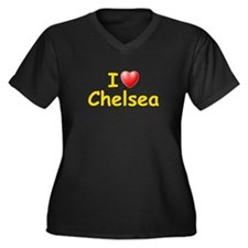 I Love Chelsea (L) Women's Plus Size V-Neck Dark T
