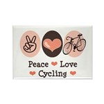 Bicycle Peace Love Cycling Rectangle Magnet (100 p