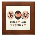 Bicycle Peace Love Cycling Framed Tile