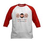 Bicycle Peace Love Cycling Kids Baseball Jersey