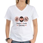 Bicycle Peace Love Cycling Women's V-Neck T-Shirt