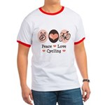 Bicycle Peace Love Cycling Ringer T