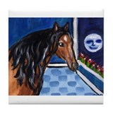 Lusitano Horse sees moon Tile Coaster