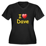 I Love Dave (L) Women's Plus Size V-Neck Dark T-Sh