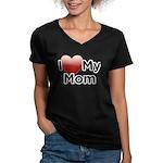 Love Mom Women's V-Neck Dark T-Shirt