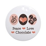 Peace Love Chocolate Ornament (Round)