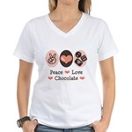 Peace Love Chocolate Women's V-Neck T-Shirt