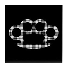 Plaid Brass Knuckles Tile Coaster