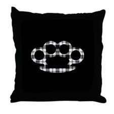 Plaid Brass Knuckles Throw Pillow
