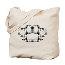 Plaid Brass Knuckles Tote Bag