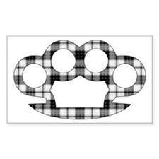 Plaid Brass Knuckles Rectangle Decal