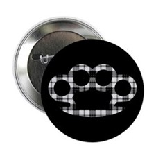 "Plaid Brass Knuckles 2.25"" Button"