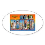 San Francisco California Greetings Oval Sticker