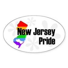 New Jersey Rainbow Pride Oval Decal