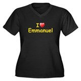 I Love Emmanuel (L) Women's Plus Size V-Neck Dark