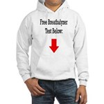 Free Breathalyzer Test Below Hooded Sweatshirt