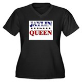 JAYLIN for queen Women's Plus Size V-Neck Dark T-S