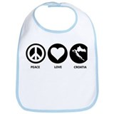 Peace Love Croatia Bib