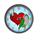 I Love my Quaker Parakeet Clock (Cartoon)
