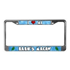 Cartoon I Love my Hahn's Macaw License Plate Frame