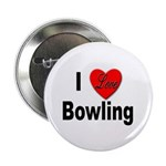 I Love Bowling Button